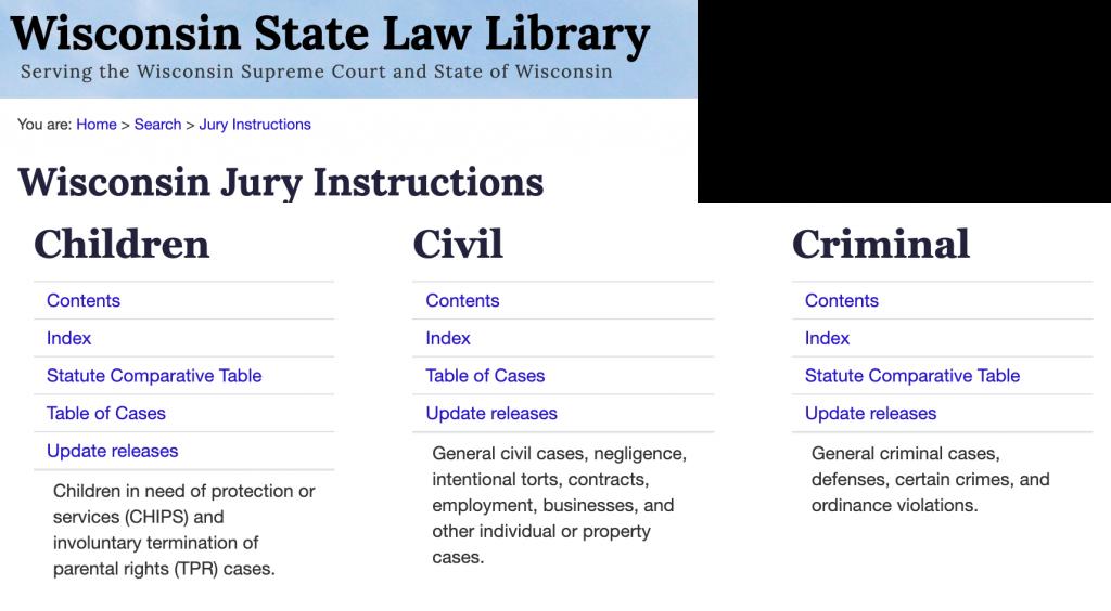 Wisconsin Jury Instructions screenshot